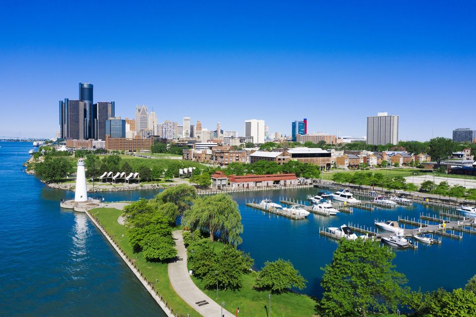 William g  milliken state park and harbor detroit michigan aerial view 1155032386
